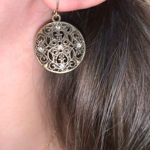 Gold tone medallion stone earrings